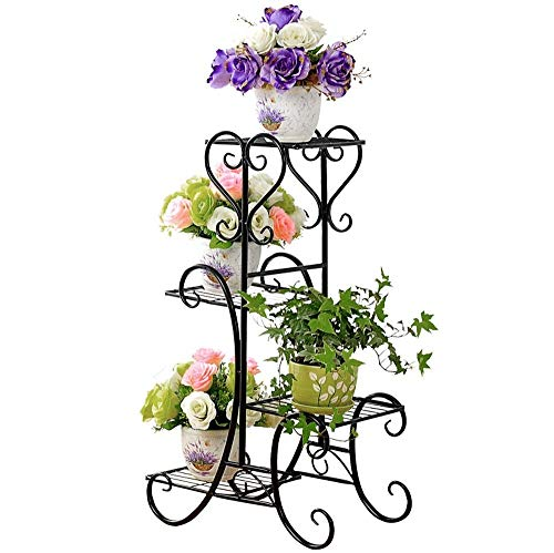 LULUDP Pflanzenregale Bonsai Display Regal Kreative Indoor Blume Stehen Kunst Blumentopf Container Lagerregal Balkon Anlage Racks 80X50X26 cm Blume Halter Holz Regale Blumentopfe (Color : Black) -