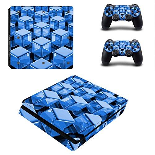 Morbuy PS4 Slim Skin Design Folie Aufkleber Sticker schützende Haut Schale für Sony Playstation 4 Slim Konsole und 2 Dualshock Controller (Blue Cube)