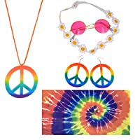 Hippie Costume Set 5 Pcs, Rainbow Peace Sign Necklace and Earrings, Hippie Sunglasses, Flower Hair Band, Hippie Styled Headscarf, 60s or 70s Hippie Dressing Accessories