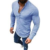 SHINEHUA Herren Langarmshirt, Männer Leinen Lange Ärmel V-Ausschnitt Taste hoch Hemden Männlich Beiläufig Business Fit Bluse T-Shirt Pullover Sweatshirt Bluse Muskelshirt
