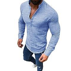 Idea Regalo - Cotone e Lino Manica Lunga Maglietta LandFox Tinta Unita Slim Fit Cotone T-Shirt Maglietta Uomo Maglia da Uomo a Manica Corta in Morbido Cotone con Maniche Lunghe Uomo Casual Top Vendita di Sconto