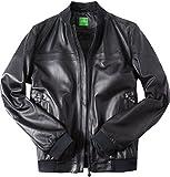 BOSS Green Herren Lederjacke Alltagsjacke Uni & Uninah, Größe: 50, Farbe: Schwarz