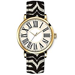 iCreat Women's Fashion Leather Printed Quartz Dress Wrist Watch Beige Dial Golden Case Watchband Design With National Wind Retro Zebra