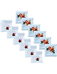 Fancyadda Women's White Cotton Handkerchiefs (Pack of 12, Simple Floral Printed)