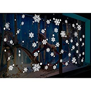FENICAL 48pcs Snowflakes Window Stickers Glueless PVC Wall Stickers for Window Glasses Christmas Window Decorations