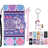 E-Mandala Apple iPhone 5 5S SE Hülle Leder Elefant Flip Case Wallet Cover Tasche handyhüllen Schutzhülle Lederhülle mit kartenfach klapphülle Handytasche