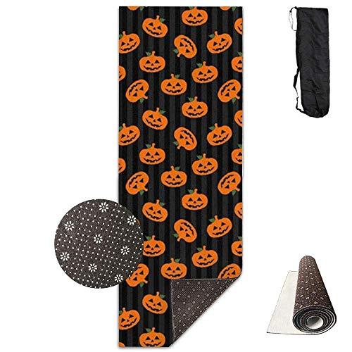FGRYGF Premium Print Yoga Mat, Halloween's Pumpkin Model, Fitness with Carrying Strap & Bag