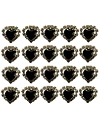 Jewellery of Lords 20 Black Heart Shaped Large Coloured Crystal Hair Pin with Clear Mounted Crystals Hairpin