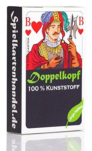 Doppelkopf Spielkarten aus 100% Kunststoff, *Premium* (Plastik +) Französisch, wasserfest im Set + Mengenrabatt auswählbar (1x, Karten in Faltschachtel) - Laminiertes Leinen