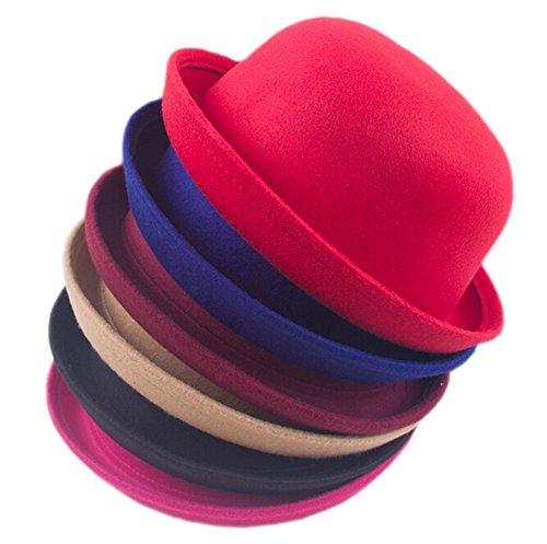 DELEY Mode Femmes Vogue Lady Laine Round Trendy Vintage Cloche Derby Bowler Hat Rouge Sombre
