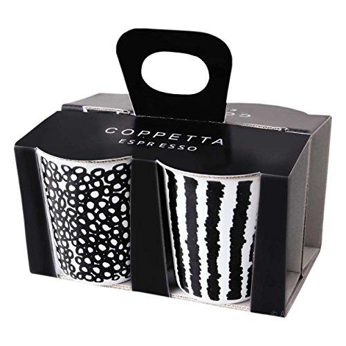 ASA Coppetta Becher Espresso Set, Porzellan, Schwarz/Weiß 6.5 cm, 4-Einheiten