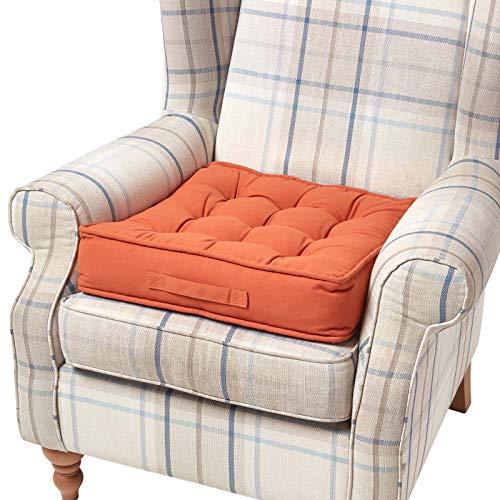 Homescapes Kissen Sitzerhöhung orange für Stuhl oder Sessel (50x 50x 10cm). Baumwolle 100% -