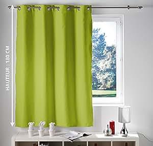 d co de maison cdaffaires rideau occultant et isolant 140x180 cm opaque vert cuisine. Black Bedroom Furniture Sets. Home Design Ideas