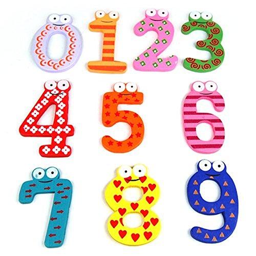 10Stück Nummern 0-9Magnete aus Holz Mathematik setzen Baby Digitale Sterlingmotor-Kühlschrank für Kinder (Kühlschrank Baby-magneten)