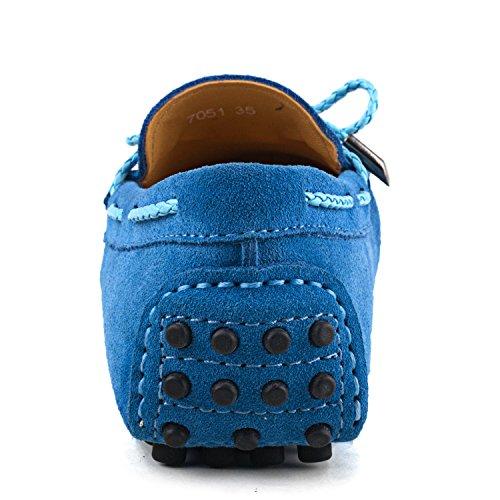 Shenduo Classic, Mocassins femme daim - Loafers multicolore - Chaussures bateau & de ville confort D7051 Bleu