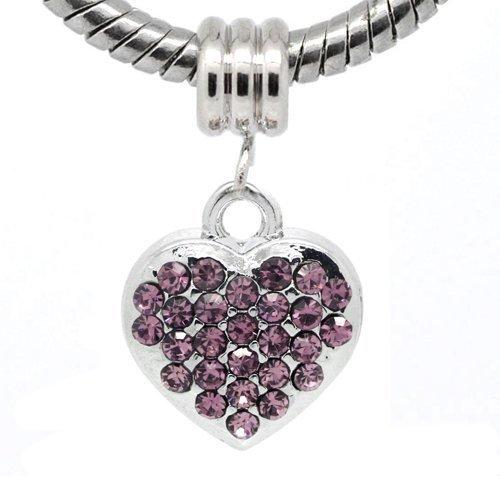 Sexy paillettes femmes de Rhin Chaîne Serpent Cœur pour bracelets Charms Bracelet violet
