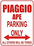 INDIGOS - Parkplatz - Parking Only- Weiß-Rot - 32x24 cm - Alu Dibond - Parking Only - Parkplatzschild - Piaggio ape