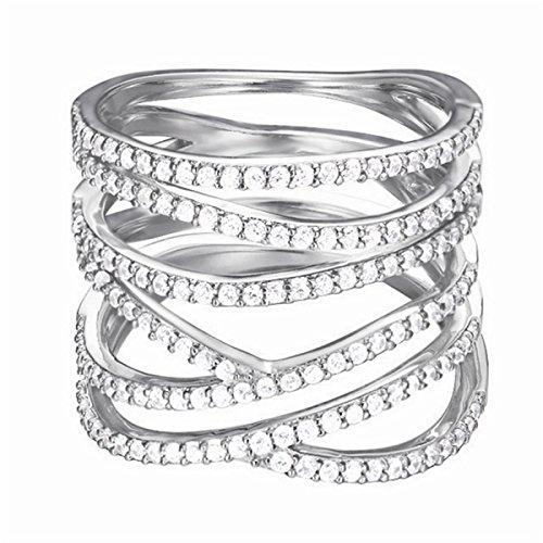 Esprit Damen-Ring 925 Sterling Silber Zirkonia brilliance glam weiß