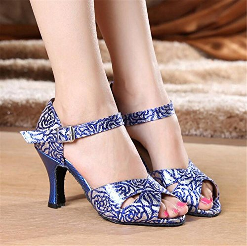 Scarpe da donna PU IndoorDanza Impressione Soft Sole BallroomLatino moderno pompe Taglia 36To40 8cm Heel