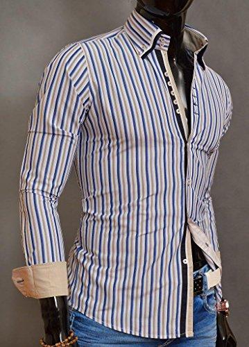 D&R Fashion Herrenhemd mit Strippe Muster und klassischem Kragen Slim Fit Baumwolle Beige