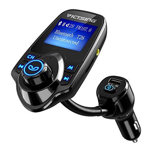 VICTSING Transmisor FM Bluetooth para Coche con Botón de Encendido, Manos Libres Radio Coche, Reproductor Musica MP3 Mechero de Coche, Ranura para Tarjeta de TF, para Móviles, Tablet, MP3, etc