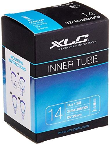 XLC Unisex- Erwachsene Fahrradschlauch 14 x 1 3/8 37/44-288/305 DV 32 mm VT-D14, Schwarz, One Size 14