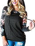 Angashion Damen Hoodies Langarm Kapuzenpullover-Blumenmuster Casual Sweatshirt Pullover Bluse Oberteile- Gr. EU M(36), Dunkelgrau 2