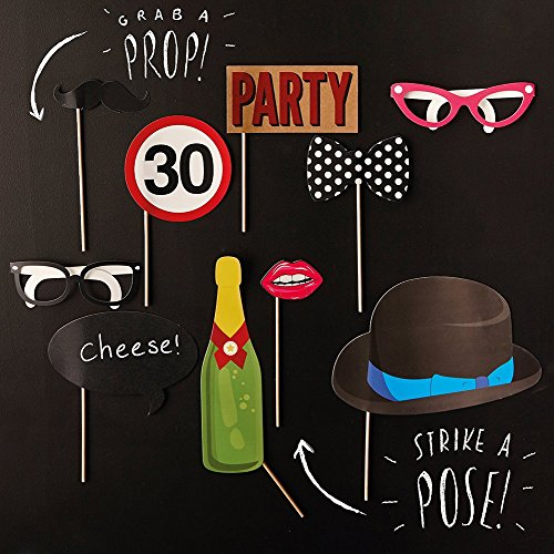 Rzctukltd 10PCS 30th Birthday Party Photo Booth Props Favours Moustache on A Stick Photography