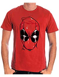Deadpool Head camiseta rojo algodón