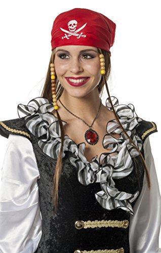 Jannes Deluxe 8153 Perücke Pirat mit Kappe Kostüm Verkleidung Fastnacht Party Karneval Fasching