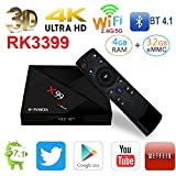 R-TV Box X99 Android TV Box RK3399 6 Core 4GB RAM 32GB Ron Android 7.1 Media Player Support BT4.1/2.4G/5G Dual WiFi/4K/3D/1000M with 2.4G Voice Control