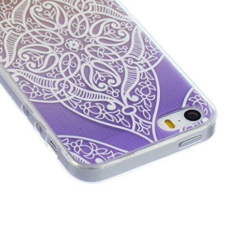SpiritSun Coque Etui pour iPhone 5C Housse Souple de Protection Case Cas Transparente Motif Fleur Blanche Couverture Ultra Mince Poids Léger Anti Rayure - Fleur Souhaitant(Violet) Fleur Souhaitant(Violet)