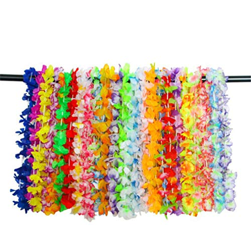 MOONQING 36 Stücke Hawaiian Kopfschmuck Paty Kranz Blume Leis Halskette Stirnband Sets für Hawaiian Luau Party Dekoration Lieferungen