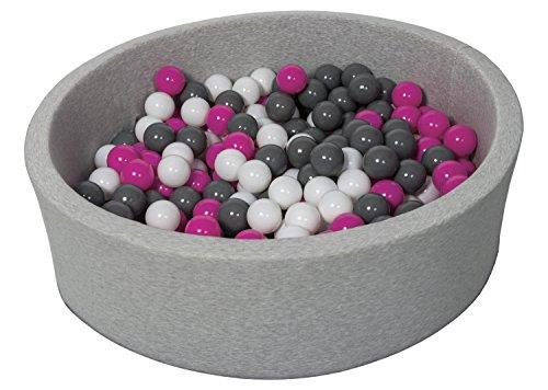 Bällebad Ballpool Kugelbad Bällchenbad Bällchenpool Kinder Pool mit 300 Bällen (Farbe der Bälle: weiß,rosa, grau)
