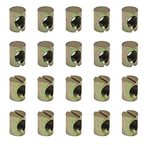 Dreamtop 20X M6 Barrel Nuts Furniture Nuts Cross Dowels Slotted Nuts for Beds Crib Chairs