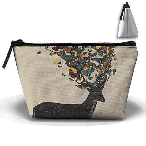 Butterfly Antelope Multifunction Portable Pouch Trapezoidal Storage Cosmetic Bag