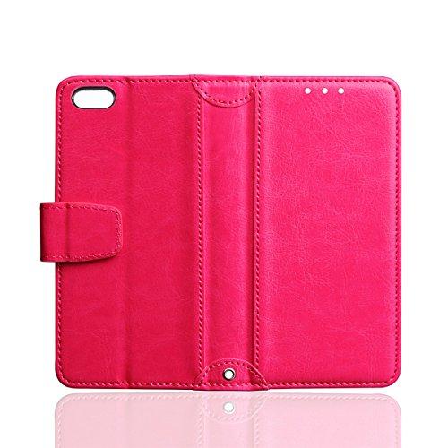 iPhone 6 / iPhone 6s 4.7 inch Handycover, LifeePro für iPhone 6 / iPhone 6s 4.7 inch Crazy Horse Pattern PU Leder Brieftasche Handycover mit Flip Stand Funktion Fotorahmen und Kartensteckplätze TPU Si Pink