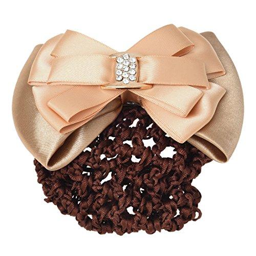 TOOGOO(R) Chemisette a cheveux en dentelle Beige strass incruste clip des cheveux snood des cheveux