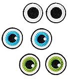 Unbekannt XL Bügelbild -  3 Verschiedene - lustige Gesichter / Augen Paare  - Aufnäher Applikation - Auge - Menschen / Tiere - Gesicht - gewebter Flicken - Jungen & M..