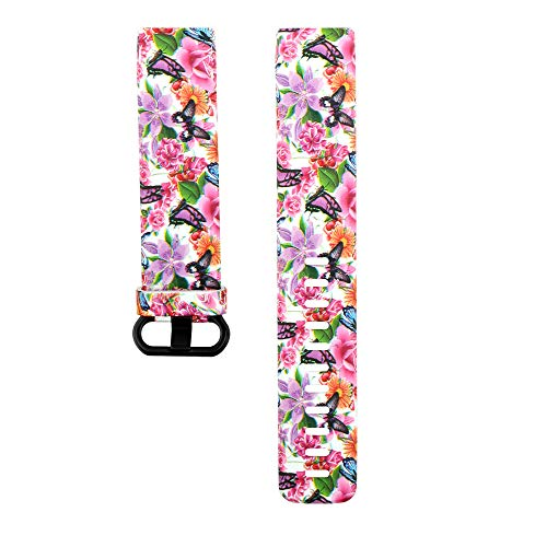 Upxiang Ersatz Uhrenarmband Mode Armband Silikon Damen Bedrucktes Band Armband für Fitbit Charge 3 (C)