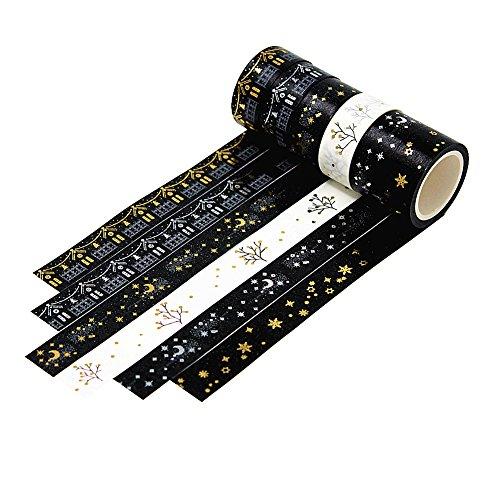 Dawnzen® 6er Set Washi Tape Multi-Pattern Dekoband Masking Paper Tape DekoKlebeband 5m x 15mm DIY Weihnachten Scrapbook Dekorative Schwarz Weiß