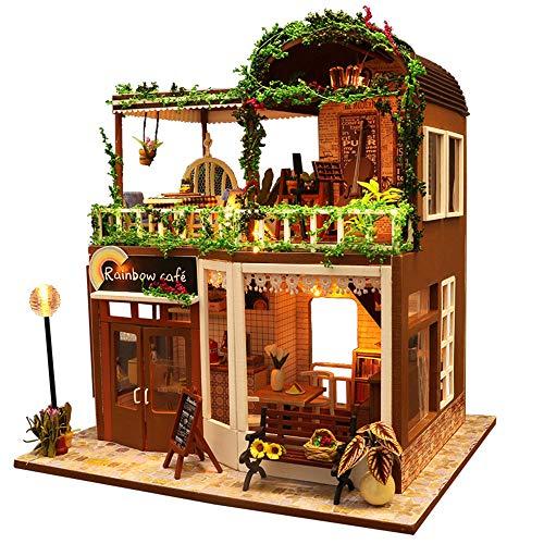JUZIHOUSE DIY Cottage, DIY Mini Puppenhaus Holzmöbel Kit, Mini Haus Holzhandwerk Baukasten-3D Holz Puzzle-Modell Baukasten DIY Kabine Holzvilla Geschenk für Weihnachten Urlaub Geburtstag -