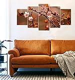#4: PRINTELLIGENT Multiple framed printed flower stems art panels wall Split Painting - 5 Frames Wall Decor (10 inch x 20 inch)