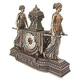 Design Toscano WU75563 Orologio Scultoreo da Camino Le Fanciulle di Versailles, Bronzo, 11.5x37x29 cm