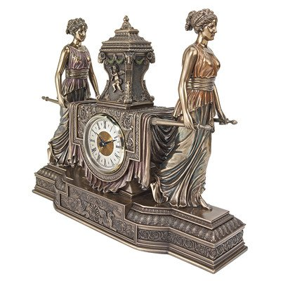 Design Toscano Jungfrauen von Versailles, Skulpturale Kaminuhr