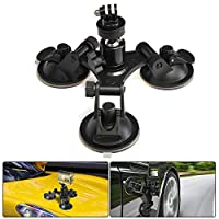 Suction Cup Mount for Gopro, leegoal Tri-Cup Action Camera Holder DSLR Camcorder Stand for Car, Glass, Window, Compatible with GoPro Hero 7, SONY HDR, Garmin Virb XE, Pentax Olympus, etc