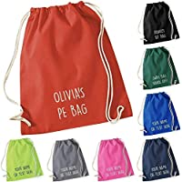 Personalised Cotton Drawstring Bag PE Gym Kit School P.E Kids Sport Rucksack New