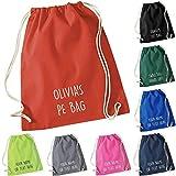 Personalised Cotton Drawstring Bag PE Gym Kit School P.E Kids Sport Rucksack New