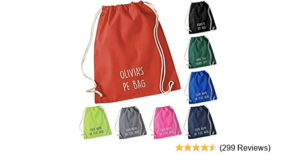 79073d7f7 Personalised Cotton Drawstring Bag PE Gym Kit School PE Kids Sport Rucksack  New