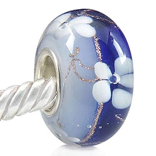 Soukiss charms, charm in vetro di murano con nucleo in argento sterling 925, blu, con motivo floreale
